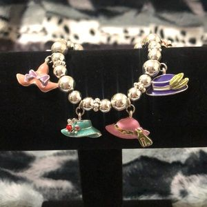 Fun silver bead bracelet with hat charms